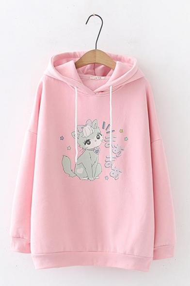 Students Preppy Style Cartoon Cute Cat Japanese Pattern Long Sleeve Casual Loose Hoodie