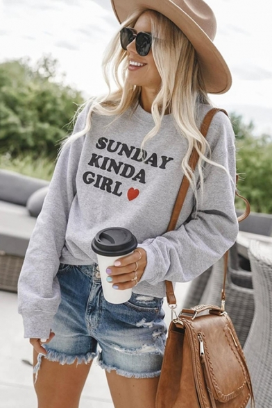 SUNDAY KINDA GIRL Letter Love Heart Printed Round Neck Long Sleeve Gray Pullover Sweatshirt
