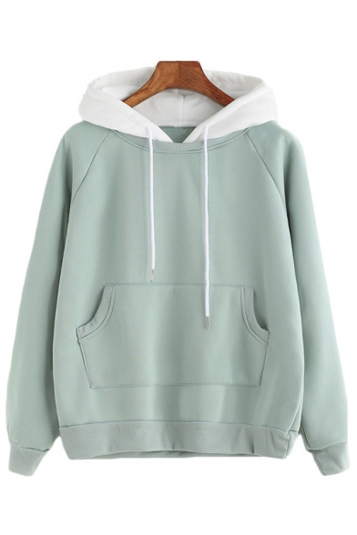 Womens Chic Plain Sky Blue Long Sleeve Casual Loose Pullover Hoodie