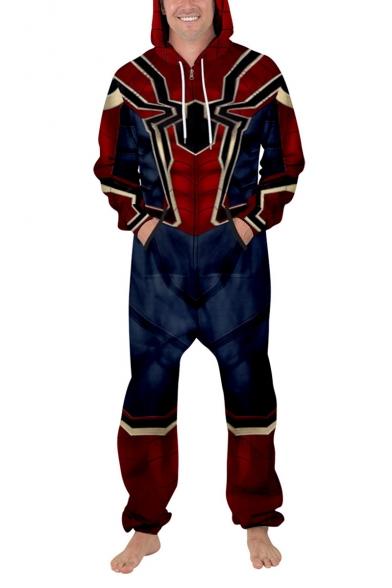 Cool Trendy 3D Spider Skeleton Printed Long Sleeve Zip Up Casual Sport Unisex Jumpsuits