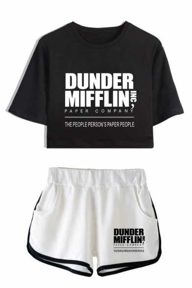 Fashion Letter Dunder Mifflin Printed Short Sleeve Crop Tee with Dolphin Shorts Two-Piece Set, Color 1;color 2;color 3;color 4;color 5;color 6;color 7;color 8, LC560392