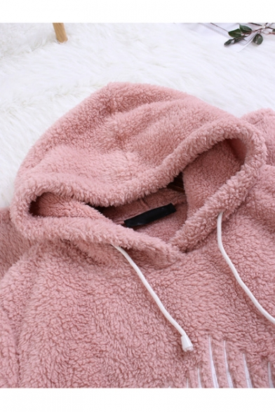 Hot Fashion Fish Bone Printed Long Sleeve Warm Fluffy Fleece Longline Hoodie