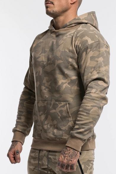 Mens New Fashion Camouflage Print Long Sleeve Casual Sports Hoodie With Kangaroo Pocket
