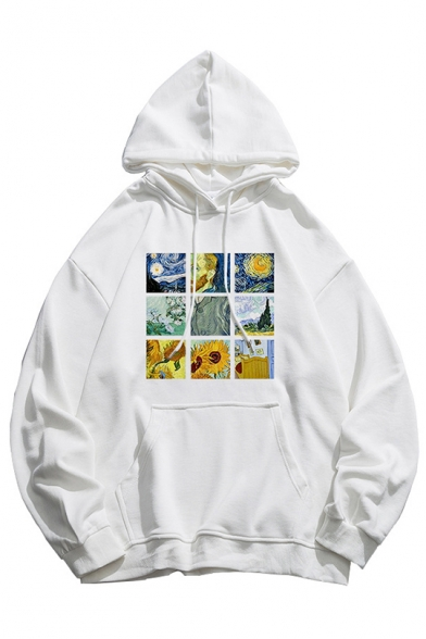New Stylish Long Sleeve Oil-Painting Pattern Loose Leisure Hoodie