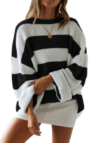 New Womens Black and White Stripes Print Round Neck Bloomer Sleeve Shaggy Sweater, LM557095, Black;green;red;gray;khaki