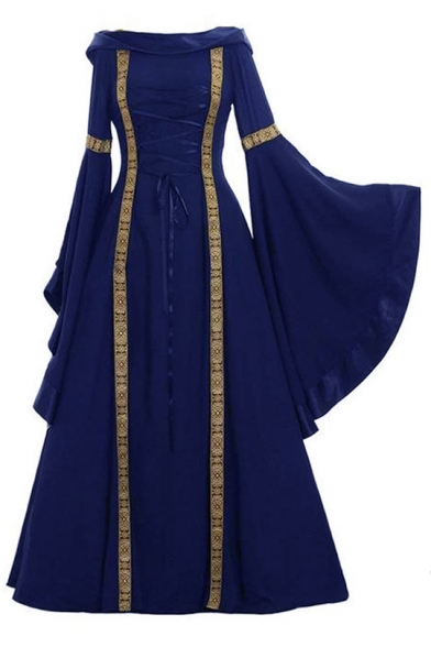 Trendy Vintage Medieval Retro Cosplay Costume Bell Sleeve Contrast Stitching Boat Neck A-Line Maxi Dress Evening Dress, LC563538, Baycheer  - buy with discount