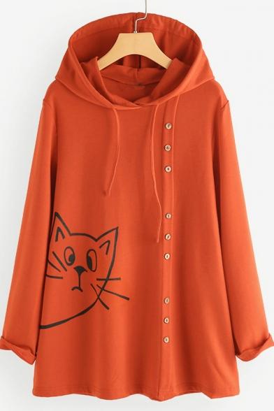 Cartoon Cat Pattern Button Embellished Long Sleeve Loose Hoodie
