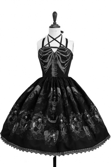 Sexy Straps Sleeveless Lace Patchwork Skull Printed Party Evening Gown Fit&Flare Mini Cami Dress, LC562004, Black;purple;navy
