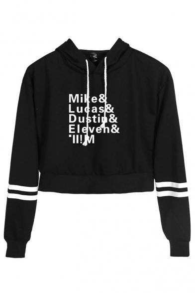 Figura Il Nome Di Mike Lucas Stampa A Righe Manica Lunga Raccolto Pullover Hoodie