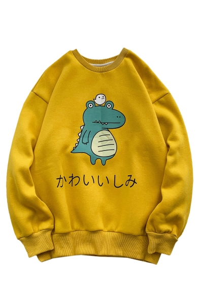 Fashion Cartoon Animal Printed Round Neck Long Sleeve Pullover Sweatshirt