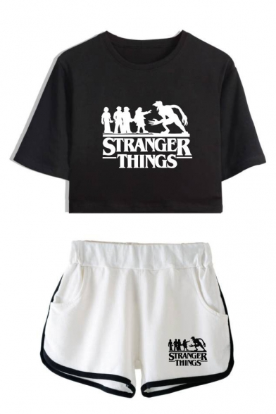 Hot Popular Stranger Things Figure Printed Short Sleeve Crop Tee with Dolphin Shorts Two-Piece Set, LC558994, Color 1;color 2;color 3;color 4;color 5;color 6;color 7;color 8