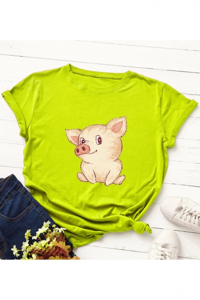 Lovely Cartoon Pig Printed Round Neck Short Sleeve Loose Casual T-Shirt