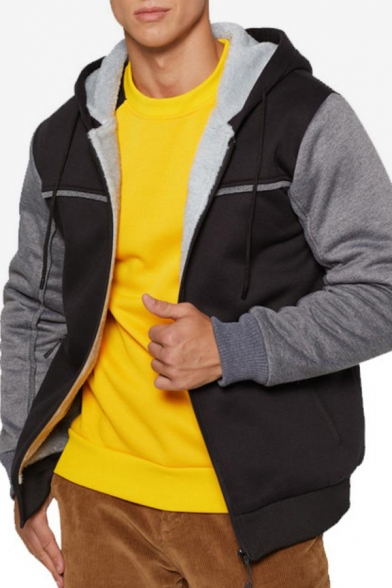 Mens New Fashion Colorblocked Long Sleeve Casual Sports Zip Up Hoodie