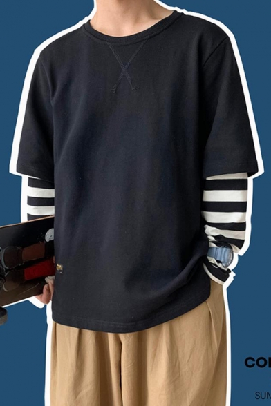 Mens Popular Stripe Patched Long Sleeve Fake Two-Piece Round Neck Casual Loose Sweatshirt