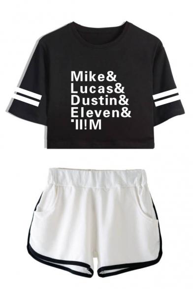 Nuova Moda Figura il Nome di Mike Lucas Dustin Stampato Crop Tee con Dolphin Shorts Set di Due Pezzi