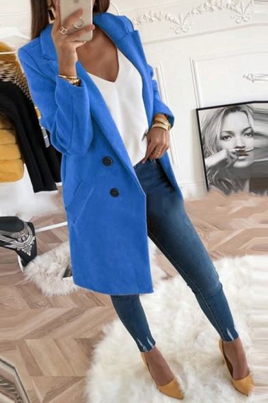 New Stylish Notched Lapel Long Sleeve Double Breasted Plain  Wool Coat With Pockets