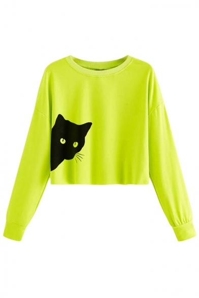 New Trendy Black Cat Pattern Round Neck Long Sleeve Cropped Sweatshirt