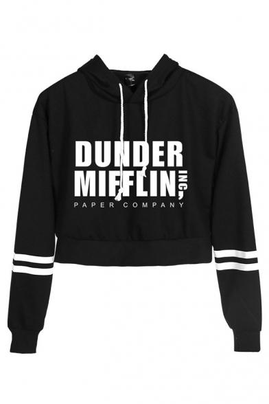 New Trendy Letter Dunder Mifflin Print Striped Long Sleeve Crop Hoodie, Black;dark navy;pink;white;yellow, LC560340