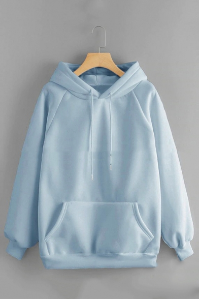 New Trendy Relaxed Long Sleeve Plain Hoodie With Pocket