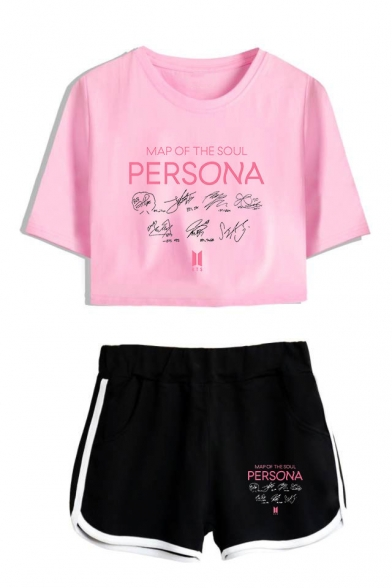 Popular Kpop Boy Band Logo Persona Short Sleeve Crop Tee with Dolphin Shorts Two-Piece Set, LM560019, Color 1;color 2;color 3;color 4;color 5;color 6;color 7;color 8
