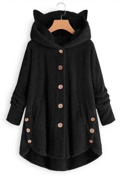Adorable Long Sleeve Button Front  High Low Hem Fluffy Faux Fur Zip-up Coat with Cat Ear Hood
