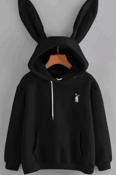 Cute Rabbit Embroidered Long Sleeve Pocket Hoodie With Rabbit Ear Hood