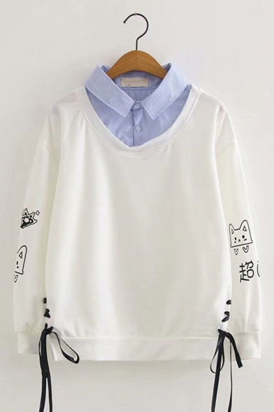 Fake Two Piece Lapel Collar Cat Letter Print Long Sleeve Tie Side White Pullover Sweatshirt