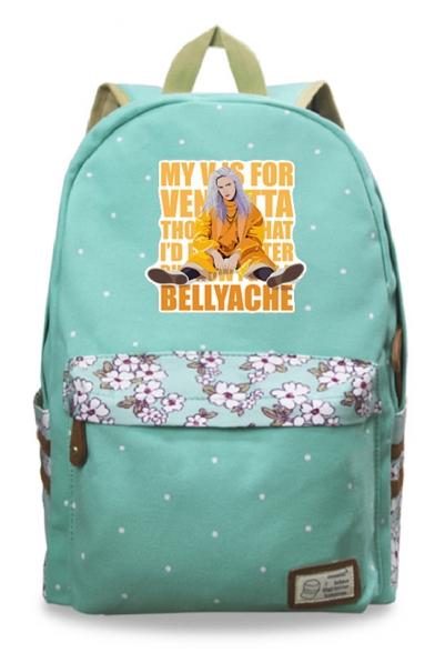 Fashion Cartoon Figure Letter Floral Printed Canvas School Bag Backpack 30*14.5*42cm