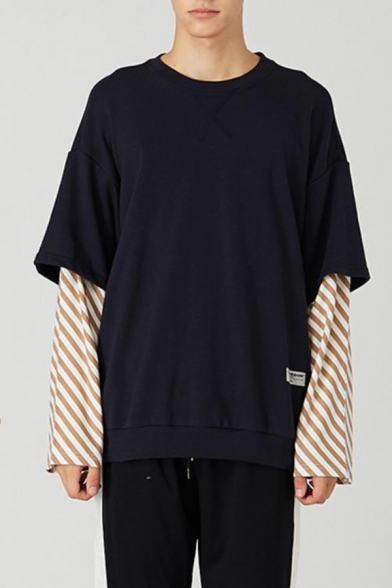 New Stylish Stripe Patched Long Sleeve Round Neck Fake Two-Piece Casual Loose Fit Unisex Pullover Sweatshirt