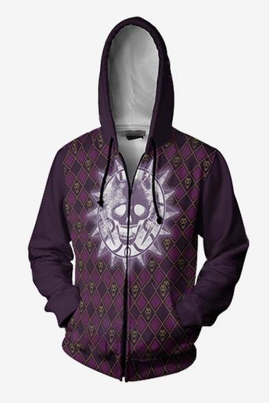 New Trendy Purple Skull Printed Long Sleeve Zip Up Hoodie