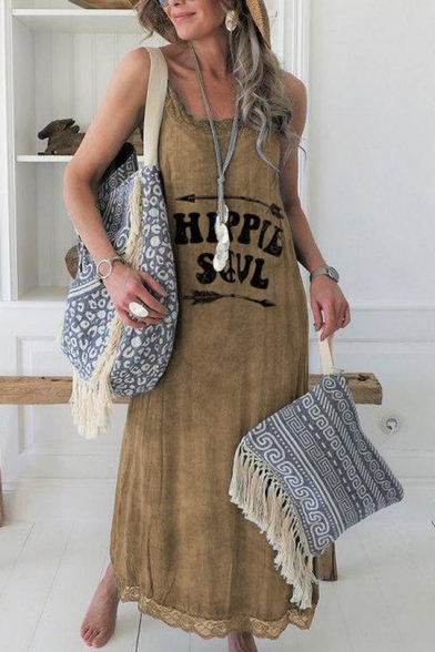 Summer New Stylish Arrow Letter HIPPIE SOUL Printed Scoop Neck Sleeveless Lace Inserted Maxi Leisure Tank Dress