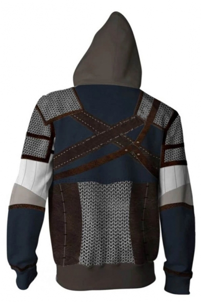 Trendy 3D Armour Pattern Comic Cosplay Costume Navy Pullover Hoodie