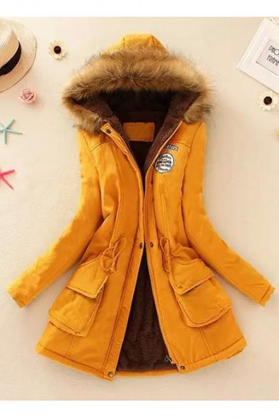 Womens New Trendy Fur-Trimmed Hooded Drawstring Waist Warm Longline Cotton Coat