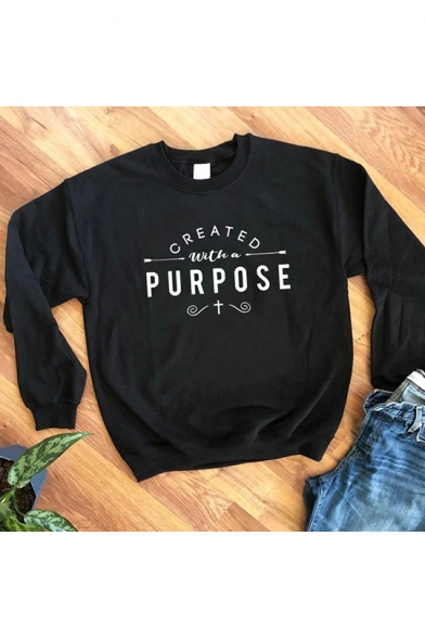 Created with A Purpose Cool Letter Printed Basic Crewneck Long Sleeve Pullover Sweatshirt, LC560109, Black;pink;white;yellow