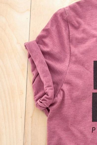 DUNDER MIFFLIN Letter Printed Round Neck Short Sleeve Purple T-Shirt