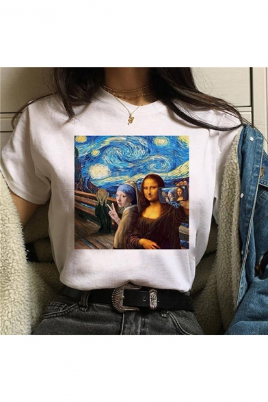 Funny Figure Oil Painting Print White Short Sleeve Tee