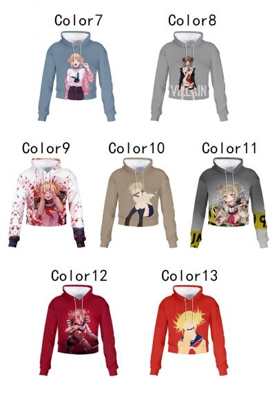 Himiko Toga Ahegao Comic Girl Printed Long Sleeve Pullover Crop Hoodie