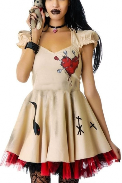 Hot Popular Voodoo Doll Halloween Cosplay Costume Skull Heart Print Cap Sleeve Mini A-Line Beige Dress