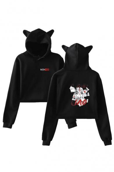 Popular Money Heist Cute Cat Ear Long Sleeve Pullover Crop Hoodie, Black;dark navy;pink;white;gray, LM559991