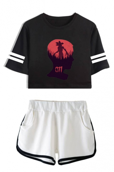 Stranger Things Cool Figure Head Print Striped Short Sleeve Crop Tee with Dolphin Shorts Two-Piece Set, LC559013, Color 1;color 2;color 3;color 4;color 5;color 6;color 7;color 8