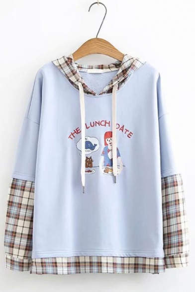 THE LUNCH DATE Letter Embroidered Cartoon Figure Printed Plaid Patchwork Long Sleeve Loose Relaxed Hoodie