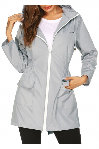Womens New Stylish Simple Plain Elastic Waist Outdoor Hooded Zip Up Windbreaker Mountain Coat
