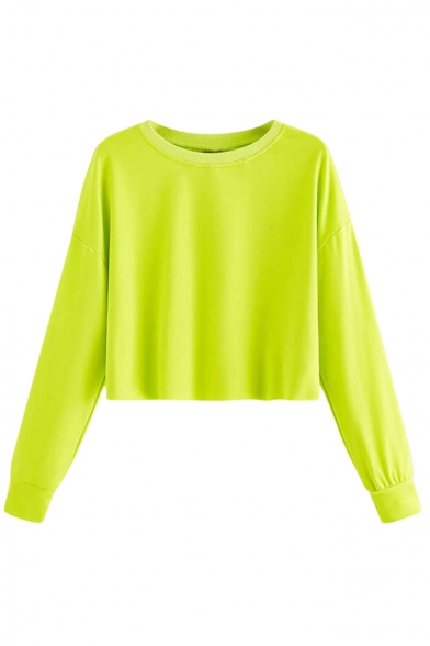 Basic Simple Plain Round Neck Long Sleeve Loose Cotton Crop Sweatshirt