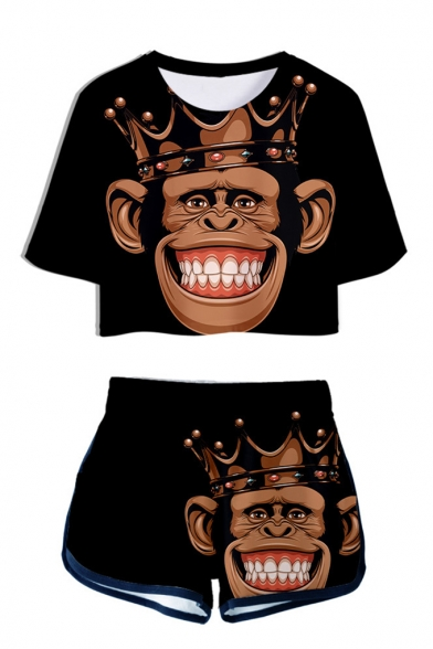 Cool Funny 3D Crown Gorilla Printed Short Sleeve Crop Tee with Dolphin Shorts Two-Piece Set, LM560011, Color 1;color 2;color 3;color 4;color 5;color 6;color 7;color 8;color 9