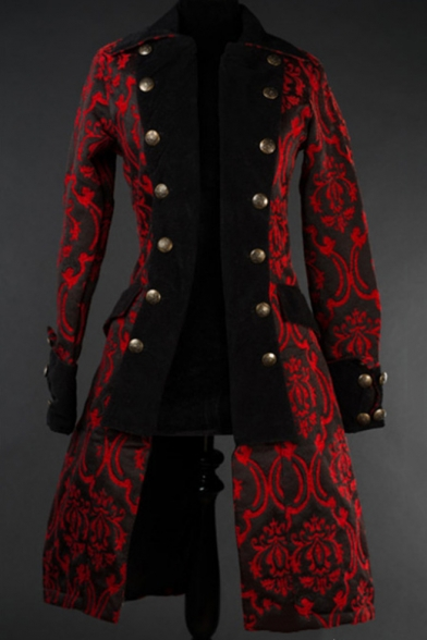 Mens Vintage Medieval Jacket Coat Retro Gothic Jacquard Winter Coat