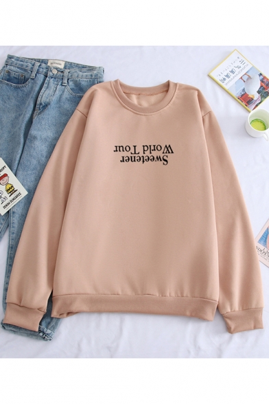 Popular Letter Sweetener World Tour Printed Crewneck Long Sleeve Pullover Sweatshirt, LC558950, White;gray;khaki