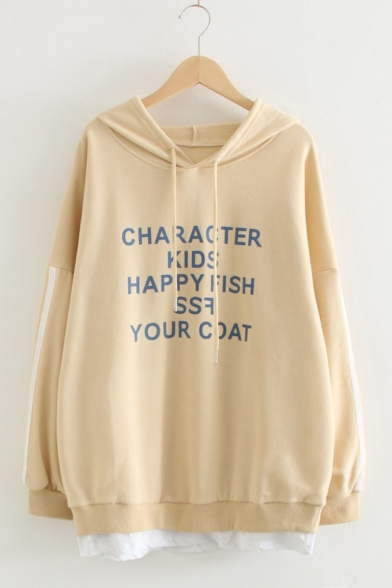 CHARACTER KIDS HAPPY FISH Letter Print Fake Two-Piece Long Sleeve Casual Relaxed Hoodie