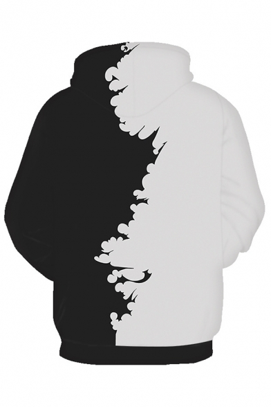 Comic Cosplay 3D Bird Print Color Block Long Sleeve Black And White Hoodie