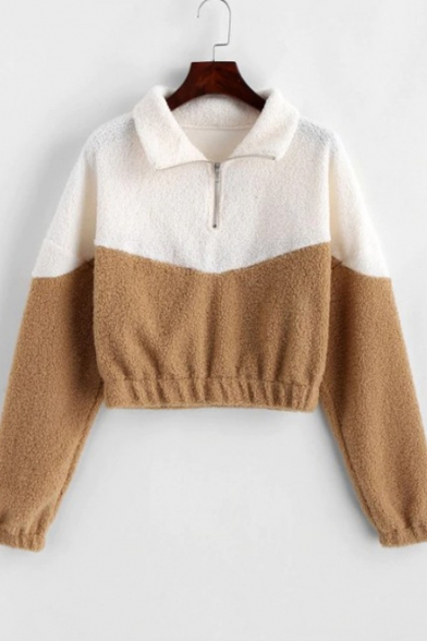 Half-Zip Stand Collar Color Block Long Sleeve Fluffy Apricot Cropped Sweatshirt