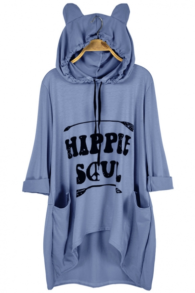 Hot Popular Long Sleeve HIPPIE SOUL Letter Printed Cat Ear Hooded Hoodie With Pocket
